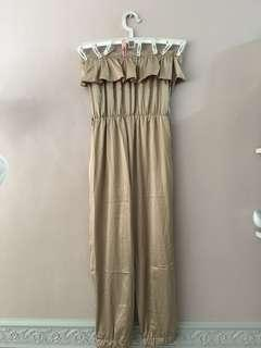 Champagne Ruffled Jumpsuit
