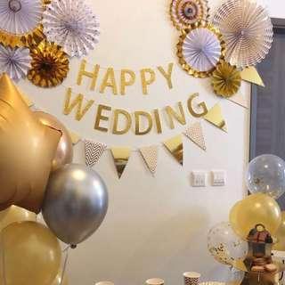 Bridal Shower 金色掛飾