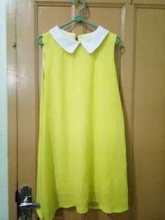 Yellow dress white collar