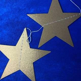 珍珠白色及金色星星掛飾2條 各4米
