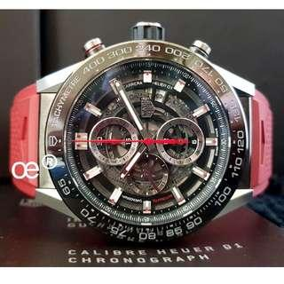 #CNY888 PROMO TAG Heuer Carrera Calibre HEUER 01 Automatic Skeleton RED STRAP