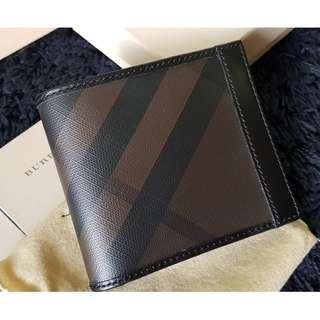 #CNY888 PROMO Burberry Chocolate Smoked Check Id Billfold Men's Wallet