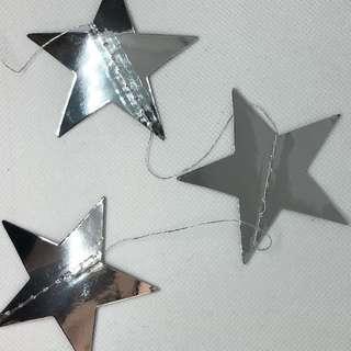 銀色星星掛飾1條 約3-4米
