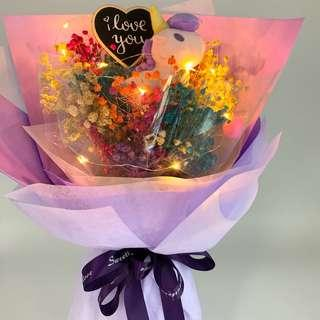 Valentine Bouquet- Unicorn with Dried Baby Breath ( LED lights included)size W32cmxHt 43cm)