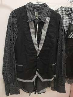 Black long sleeve and vest
