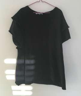 ZARA black ruffled shirt