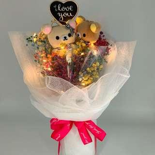 Valentine Bouquet- Rilakkuma with Dried Baby Breath ( LED lights included)size-W35xHt48cm)