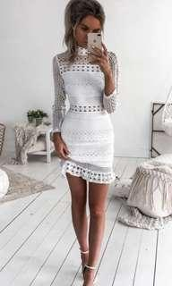 White long sleeve crochet dress two sisters