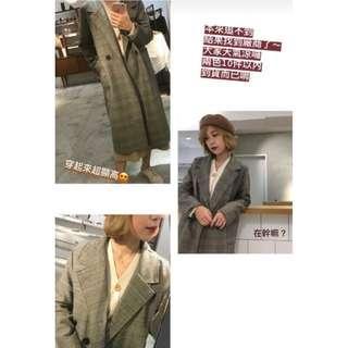 【全新】翻領格紋薄款大衣