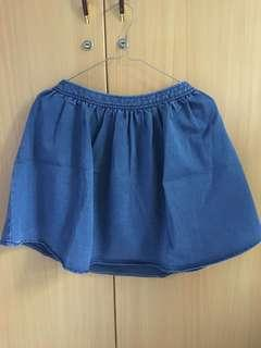 Blue Denim Flare Skirt