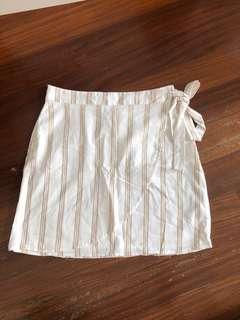 White Khaki Stripes Linen Tie Front A Line Skirt Beach