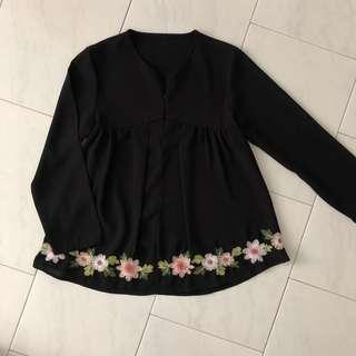 Embroidery Babydoll Blouse