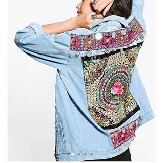 Boohoo Nasty Gal Oversized Boho Floral Embroidered Beaded Festival Denim Jacket Celebrity Blogger UK 6