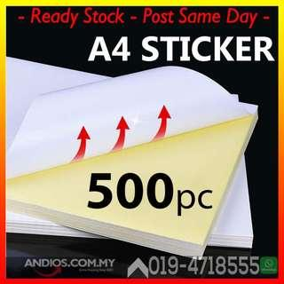 500' A4 White Glossy Self adhesive Sticker Sticky Back Label Printing