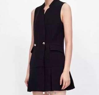 Bershka @ Zara Style Sleeveless Tuxedo LBD Blazer Frock Pleated Hem Celebrity Blogger Dress Size Small
