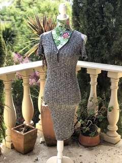 Dark grey zipper dress