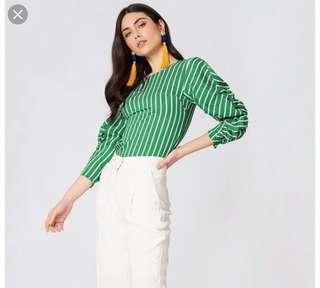 Celebrity Blogger Trend Mango not Zara Pinstripe Draped Ruched Ruffle Sleeve V Blouse Top M