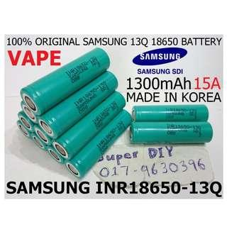Samsung INR 18650 13Q 3.7V 1300mAh Rechargeable High Drain Tool machine Vape Battery 15A