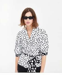 Zara Trend Celebrity Blogger Polka Dot Wrap Front Tie Blouse New