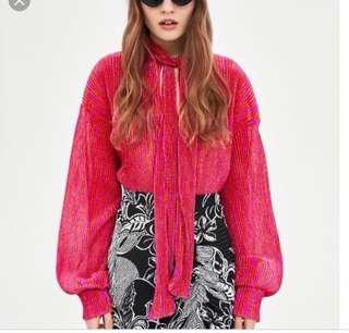 Zara Trend Celebrity Blogger Pink Glittery Tie Front Pussy Bow Blouse Top Small