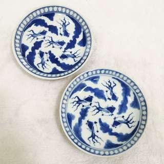 Old Porcelain blue and white gold fish Plate set 民国酱釉青花手绘金鱼盘 X2