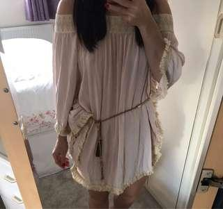 Celebrity Blogger Boho Hippy Bali ASOS Luxury Resort Silk Fringe Tassel Bardot Kaftan Beach Dress