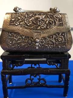Vintage/ Antique Beautiful Peranakan Silver Bag (274gram) (L15xW6xH11cm,not inclusive handle part)