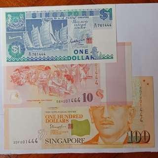🐆豹子号🐆,portrait $100, commemorative $10 & ship $1 ,(lot of 3pcs).