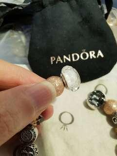 Authentic Pandora White Faceted Murano Charm