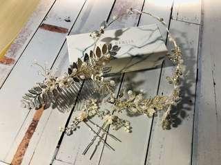 婚禮頭飾 婚紗相頭飾 簡約 希臘風 樹葉頭飾 姊妹伴娘 奶奶 一套四件