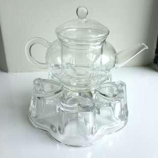 🌻玻璃花茶茶壺 連座 送蠟燭