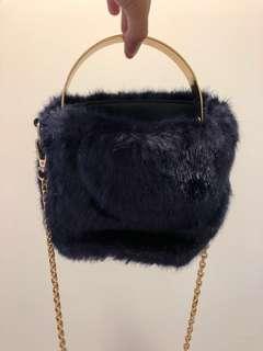 35e3d531a2 Zara Navy Blue Faux Fur Bag