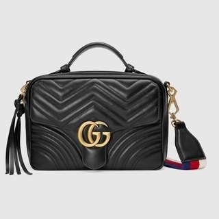 Gucci marmont top handle black bag