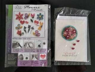 Paper quilling basic beginner set & quill card hand made
