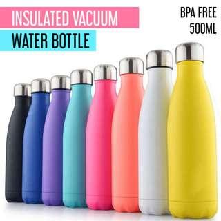BPA Free 500ML INSULATED VACUUM WATER BOTTLE 💯 Stylish 💯 Sports 💯 Backpack 💯 Travel 💯 Men Women Kids