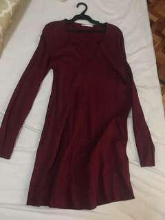 BNEW Zara Maroon Boho Dress