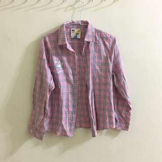 【全新】Pazzo 愛麗絲粉色格紋襯衫 Disney