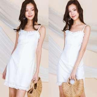 Ohvola Sorell Ruffle Slip Dress (White) S