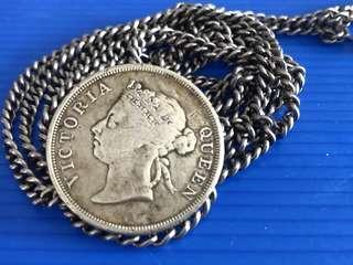 Antique Peranakan Silver Coin Belt ( Coin/ Straits Settlement QV 50 cent 1900) 103gram