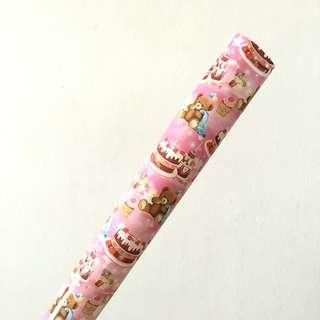 BIRTHDAY BEAR PINK WRAPPING PAPER