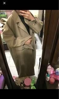 韓版杏色 長版大衣