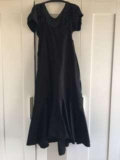 黑時尚細肩帶魚尾長洋裝
