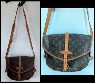 🇫🇷👜 二手100%正貨 90%新 名牌 LV Louis Vuitton Monogram 中古經典 真皮 Genuine Leather 雙面斜肩袋 Double Side Shoulder Bag