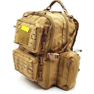 Elite Backpack Laser Molle. Model No. 3093. Measurement 47cm (Height) x 41cm x 24cm. Coyote Khaki or Black, Pls Specify.