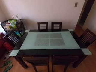 RUSH SALE Dining Set 6-seater BLIMS Solid Glass & Wood Frame