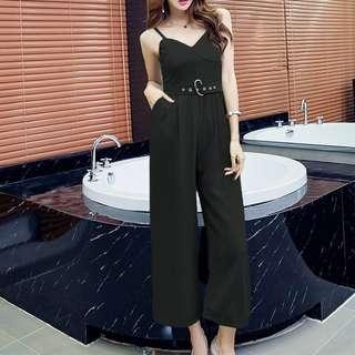 Black Straps Wide Leg Jumpsuit