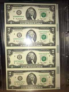 4-in-1 Uncut $2 Federal Reserve Note.