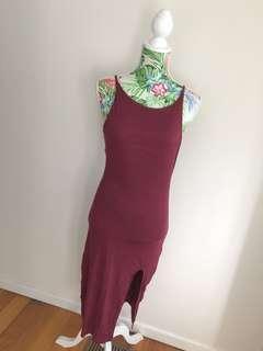 Maroon full length dress