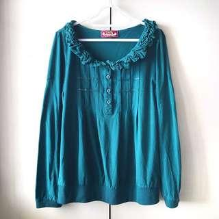 Tata Women's Green / Teal Long Sleeves Blouse / Top (Size L)