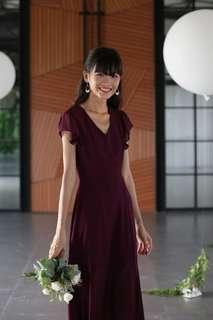 ⚡TTR Maroon Sasha Ruffle Sleeve Maxi Dress